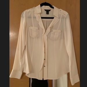 White House Black Market Cream Silk Blouse Size 8